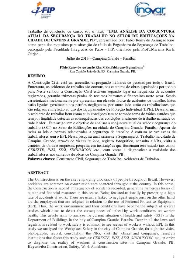 """Trabalho de conclusão de curso, sob o título """"UMA ANÁLISE DA CONJUNTURA ATUAL DA SEGURANÇA DO TRABALHO NO SETOR DE EDIFICA..."""