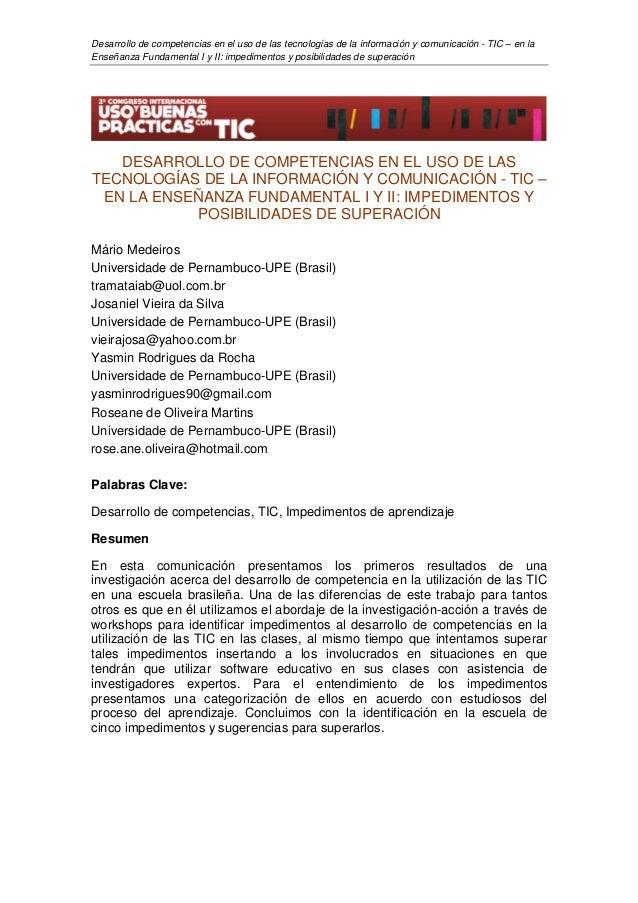 Desarrollo de competencias en el uso de las tecnologías de la información y comunicación - TIC – en laEnseñanza Fundamenta...