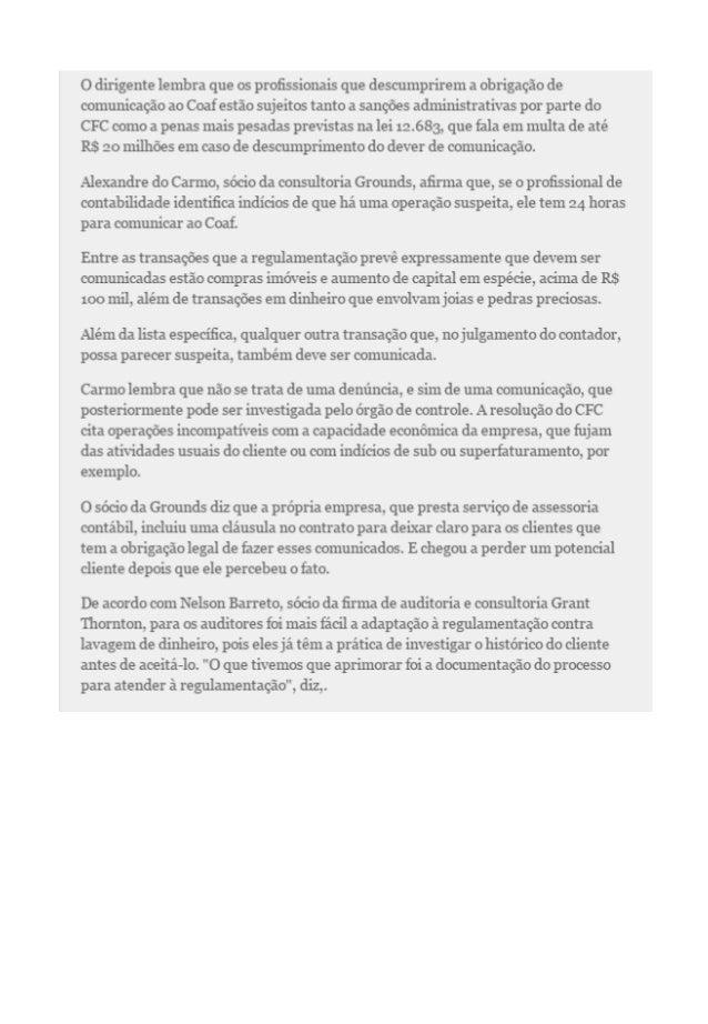 Artigo Valor - Contadores enviam apenas 132 avisos ao COAF em 2014 Slide 2
