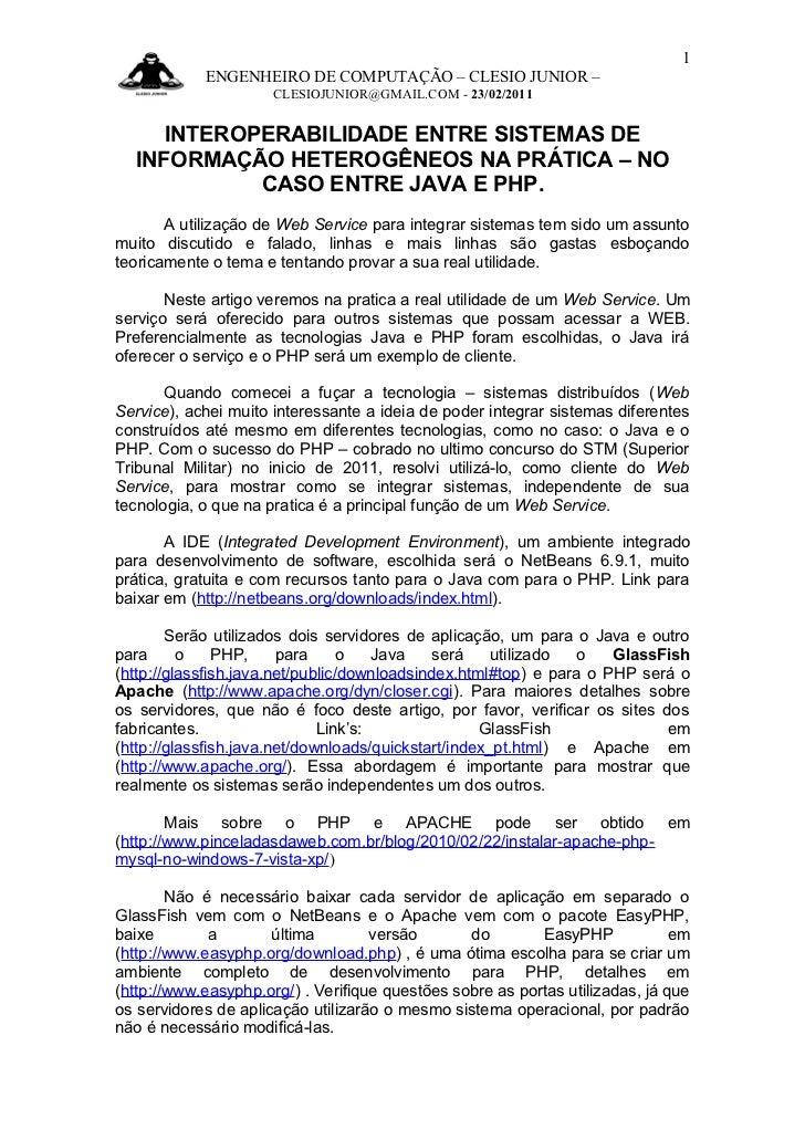 1            ENGENHEIRO DE COMPUTAÇÃO – CLESIO JUNIOR –                      CLESIOJUNIOR@GMAIL.COM - 23/02/2011     INTER...