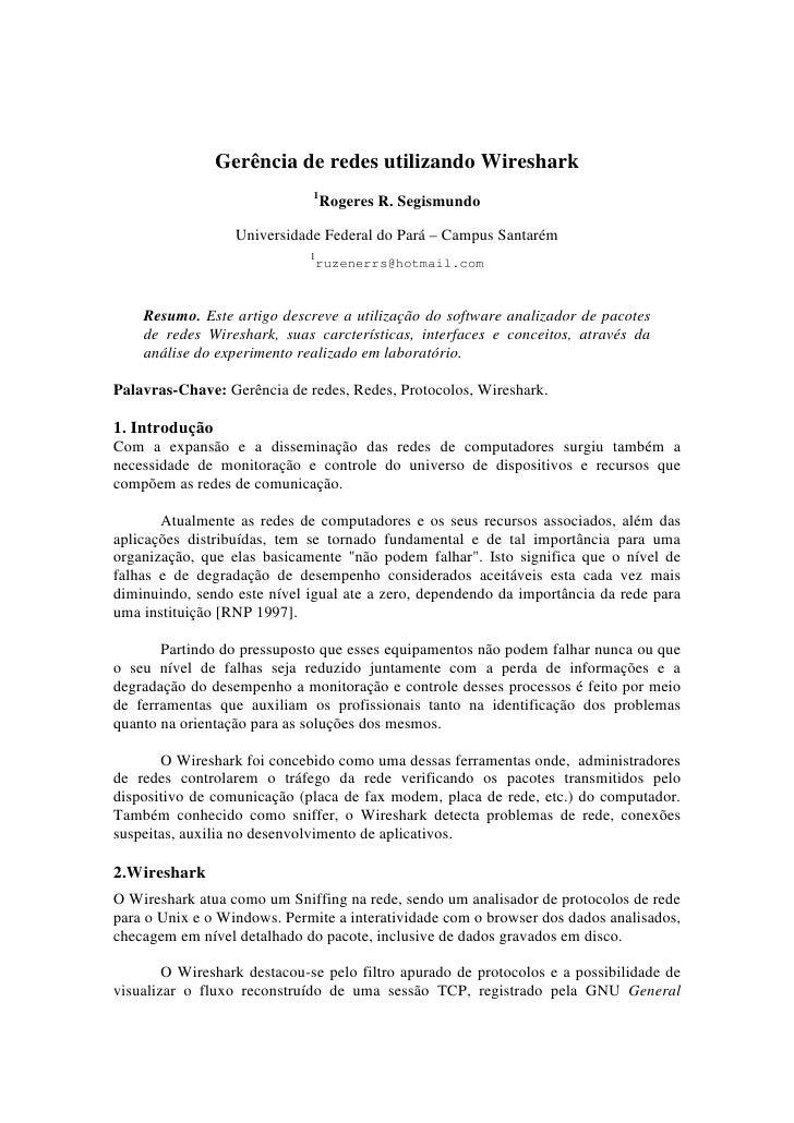 Gerência de redes utilizando Wireshark                               1                                   Rogeres R. Segism...