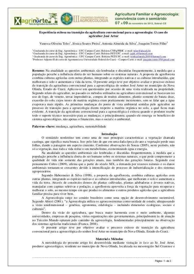 Experiência exitosa na transição da agricultura convencional para a agroecologia: O caso do                               ...