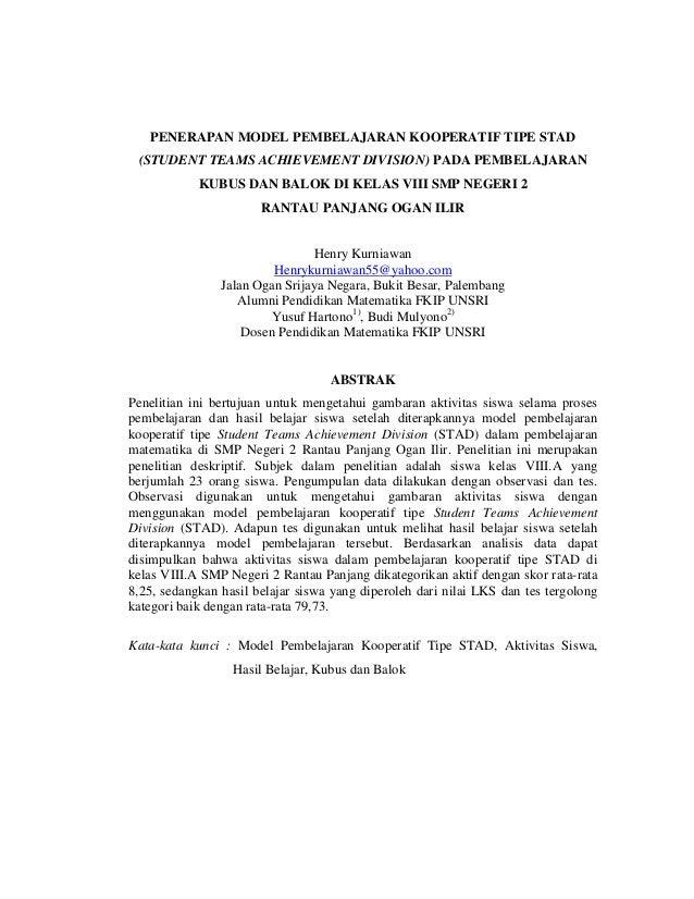 PENERAPAN MODEL PEMBELAJARAN KOOPERATIF TIPE STAD (STUDENT TEAMS ACHIEVEMENT DIVISION) PADA PEMBELAJARAN KUBUS DAN BALOK D...