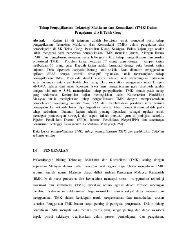 Artikel Tahap Pengaplikasian Teknologi Maklumat Dan Komunikasi Tmk
