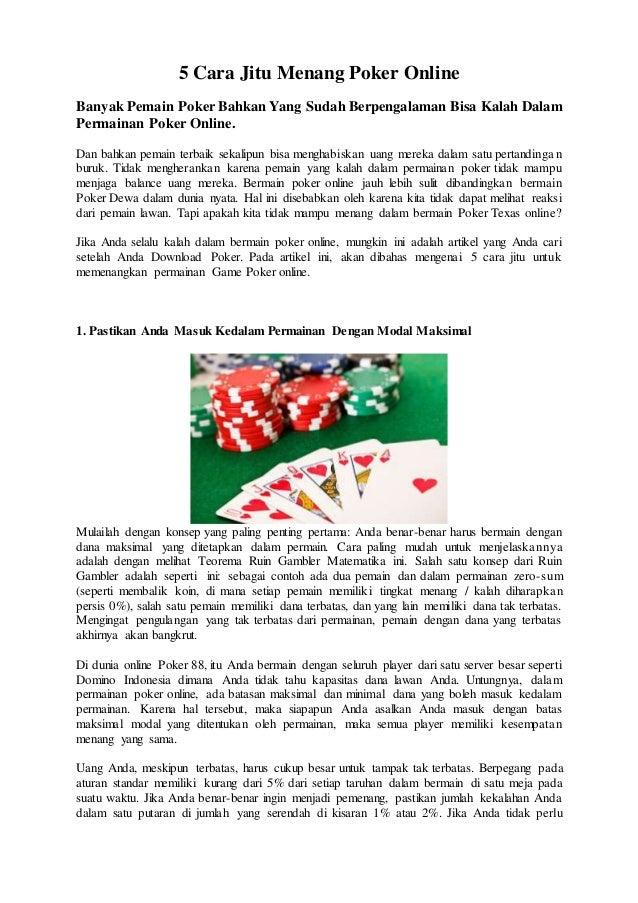 5 Cara Jitu Menang Poker Online Banyak Pemain Poker Bahkan Yang Sudah Berpengalaman Bisa Kalah Dalam Permainan Poker Onlin...