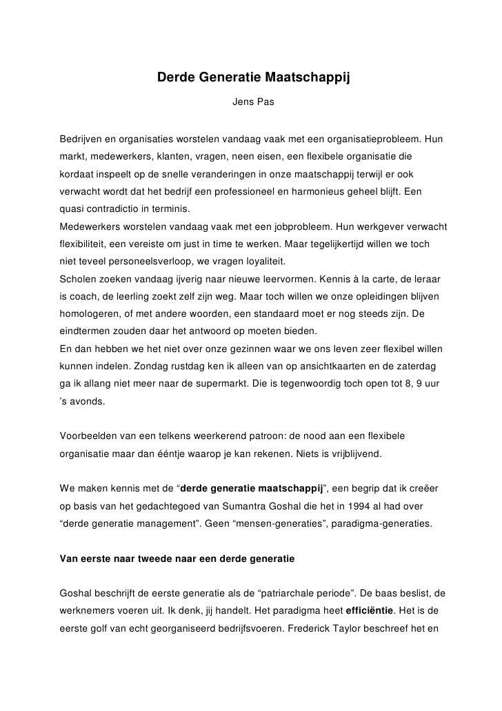 Derde Generatie Maatschappij                                          Jens Pas   Bedrijven en organisaties worstelen vanda...