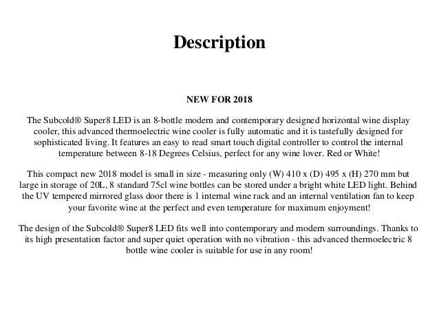 Subcold Super8 LED - Wine Cooler | Drinks Fridge | 8 Bottle