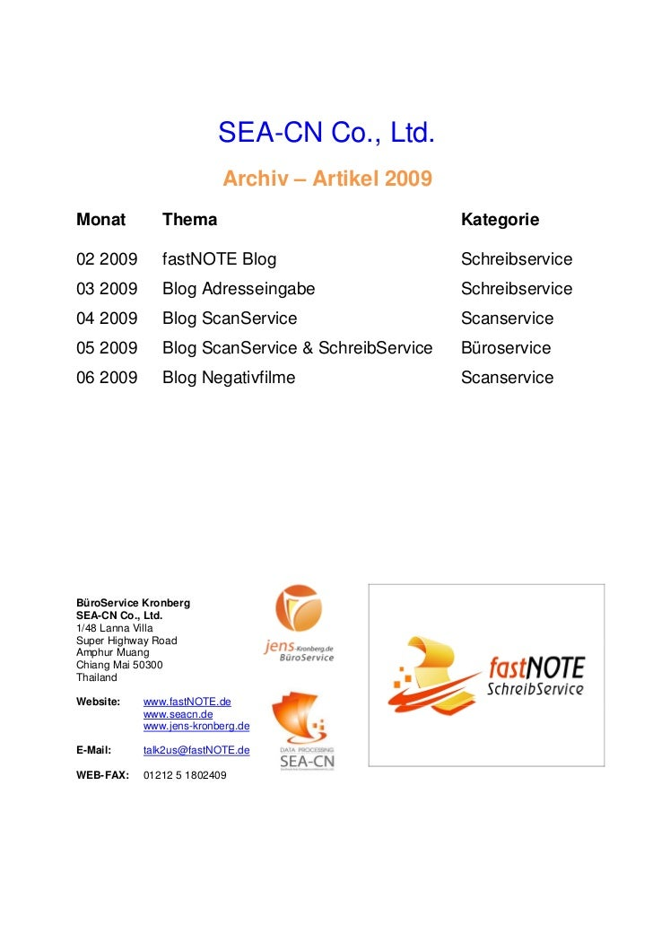SEA-CN Co., Ltd.                         Archiv – Artikel 2009Monat          Thema                               Kategorie...