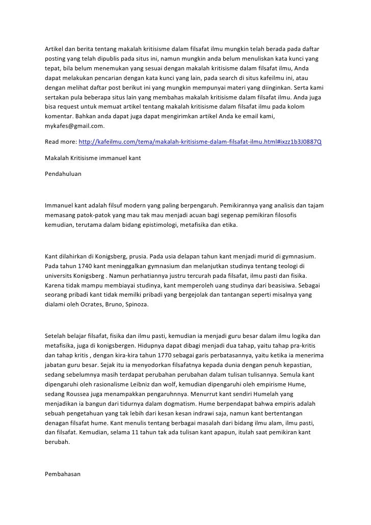 Artikel Dan Berita Tentang Makalah Kritisisme Dalam Filsafat Ilmu Mun