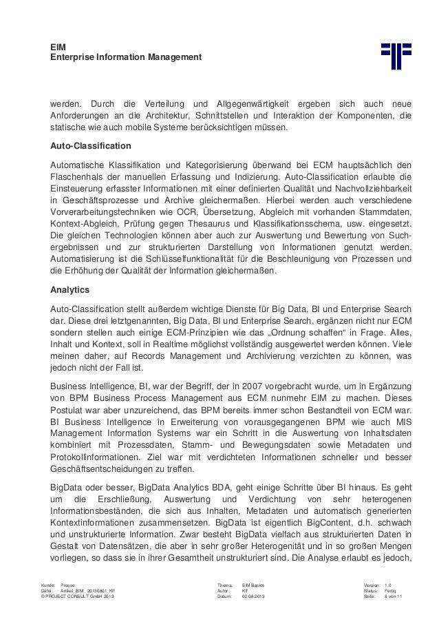 EIM Enterprise Information Management Kunde: Presse Thema: EIM Basics Version: 1.0 Datei: Artikel_EIM_ 20130801_Kff Autor:...