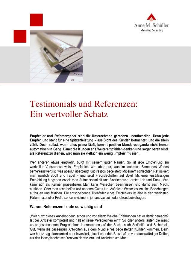 Testimonials und Referenzen: ein wertvoller Schatz