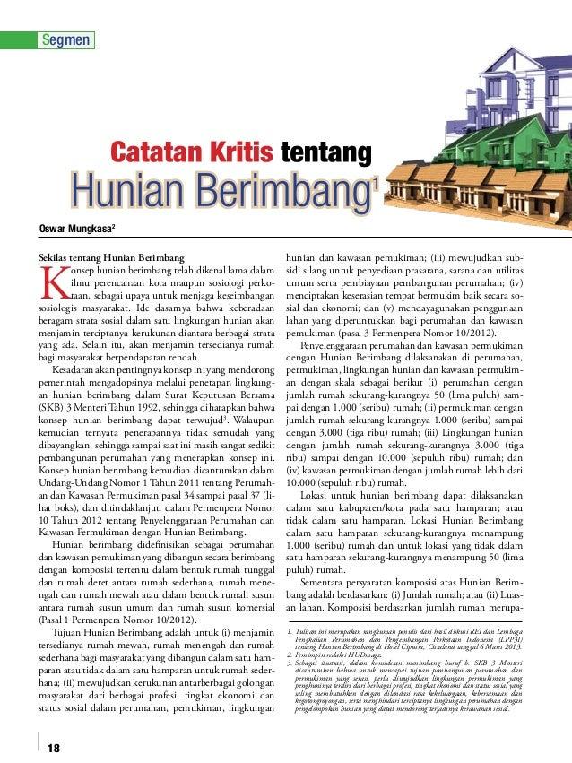 Segmen  Oswar Mungkasa2 Sekilas tentang Hunian Berimbang onsep hunian berimbang telah dikenal lama dalam ilmu perencanaan ...