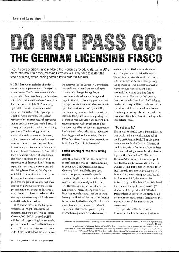 Arendts_Germany licensing procedure_igamingbusiness