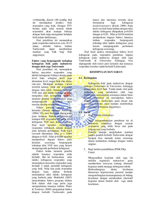 Artikel Jurnal Tingkat Kebugaran Pada Mahasiswa Dengan Olah Raga Taek