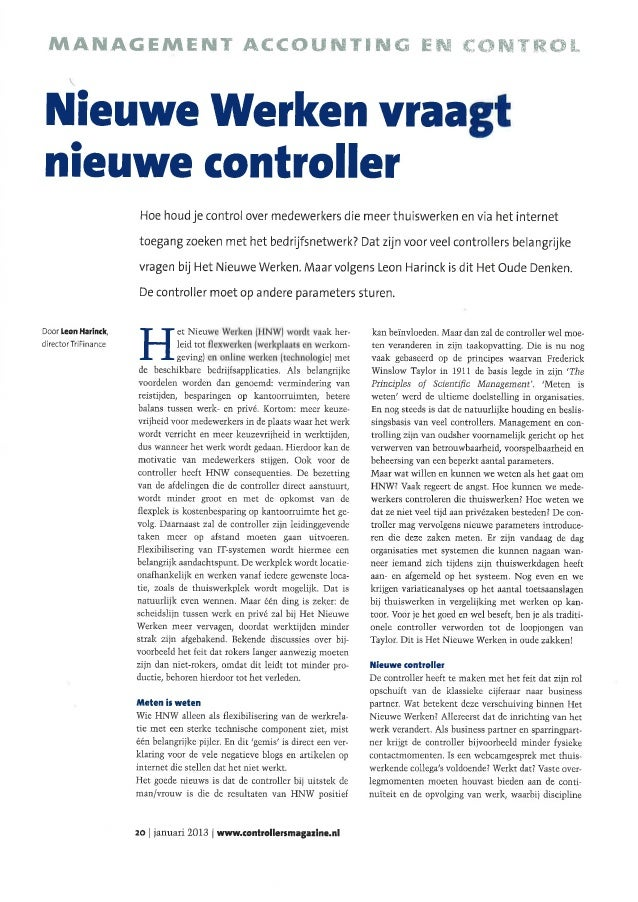 Artikel Leon Harinck (TriFinance) ControllersMagazine januari 2013: 'Nieuwe werken vraagt nieuwe controller