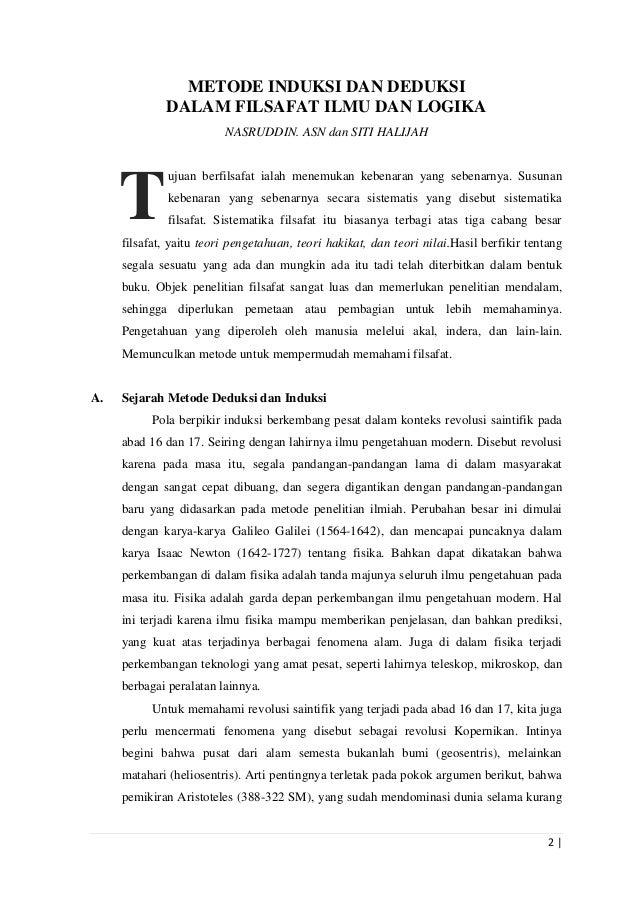 Artikel Filsafat Ilmu Dan Logika Metode Induksi Dan Deduksi