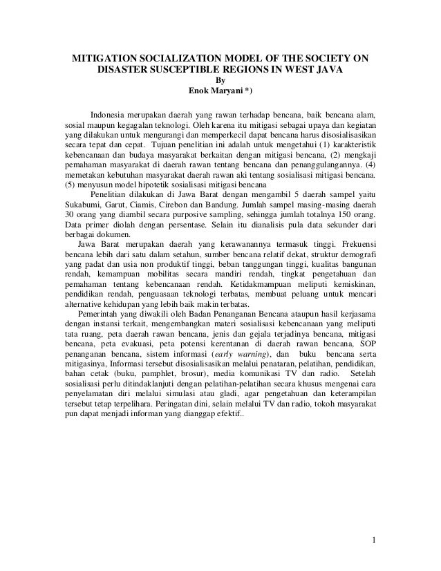 MITIGATION SOCIALIZATION MODEL OF THE SOCIETY ON      DISASTER SUSCEPTIBLE REGIONS IN WEST JAVA                           ...