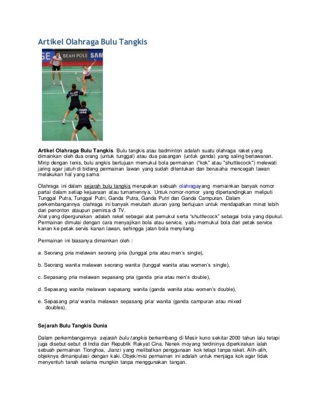 Artikel Olahraga Bulu Tangkis