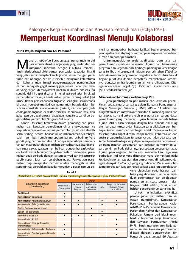 Profil Edisi 4 - 2013  Kelompok Kerja Perumahan dan Kawasan Permukiman (Pokja PKP):  Memperkuat Koordinasi Menuju Kolabora...