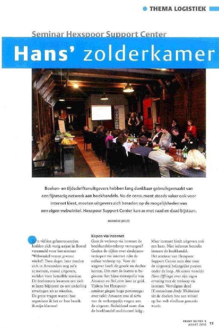"Artikel in grafisch magazine PrintBuyer: Seminar ""Webwinkel vs Gewone Winkel"" in december 2009 Slide 1"