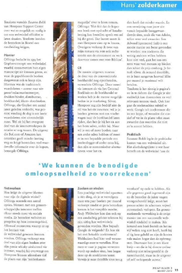 "Artikel in grafisch magazine PrintBuyer: Seminar ""Webwinkel vs Gewone Winkel"" in december 2009 Slide 2"