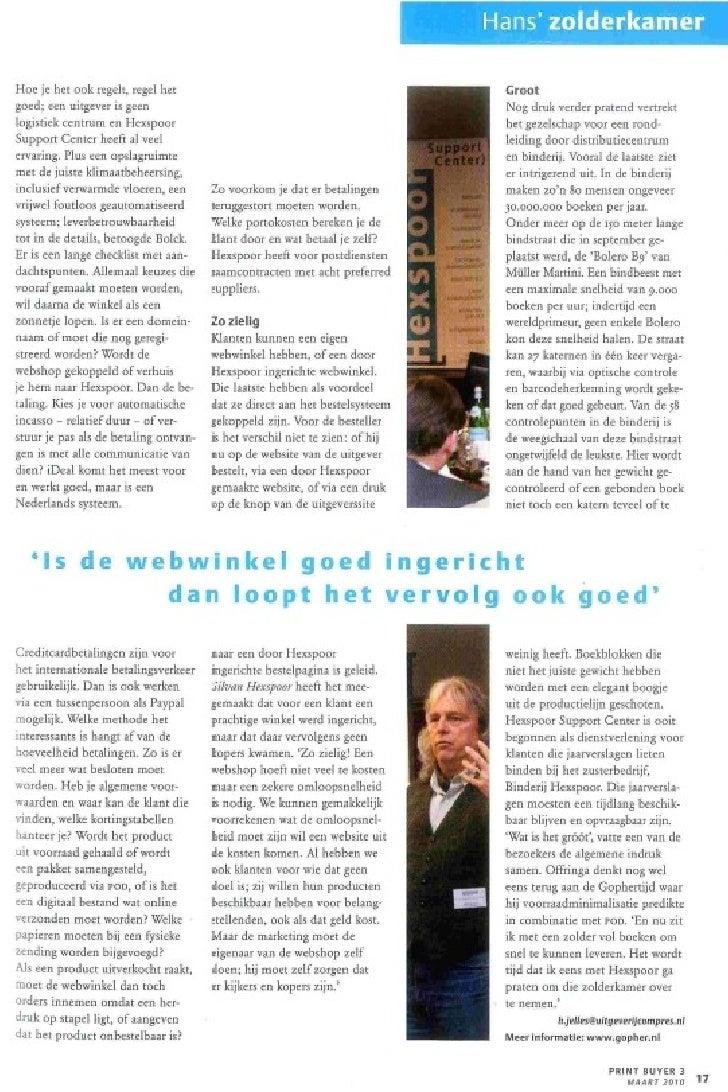"Artikel in grafisch magazine PrintBuyer: Seminar ""Webwinkel vs Gewone Winkel"" in december 2009 Slide 3"