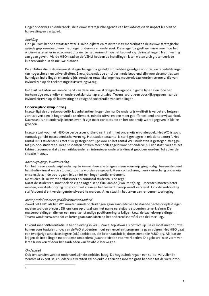 Hoger onderwijs en onderzoek : de nieuwe strategische agenda van het kabinet en de impact hiervan ophuisvesting en vastgoe...