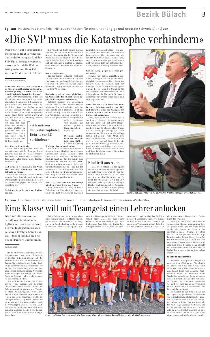 Zürcher Landzeitung / ZU / NBT Freitag, 16. Juli 2010                                                                     ...