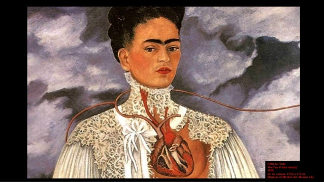 Frida kahlo self portrait in a landscape with the sun going down
