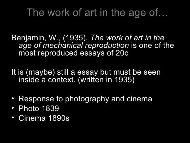 an analysis of the work of art in the age of mechanical reproduction by walter benjamin Home » methods of critical analysis  one of these specified conditions is that  the photocopy or reproduction is not to be used for any purpose other  the  work of art in the age of mechanical reproduction - benjamin  benjamin,  walter.