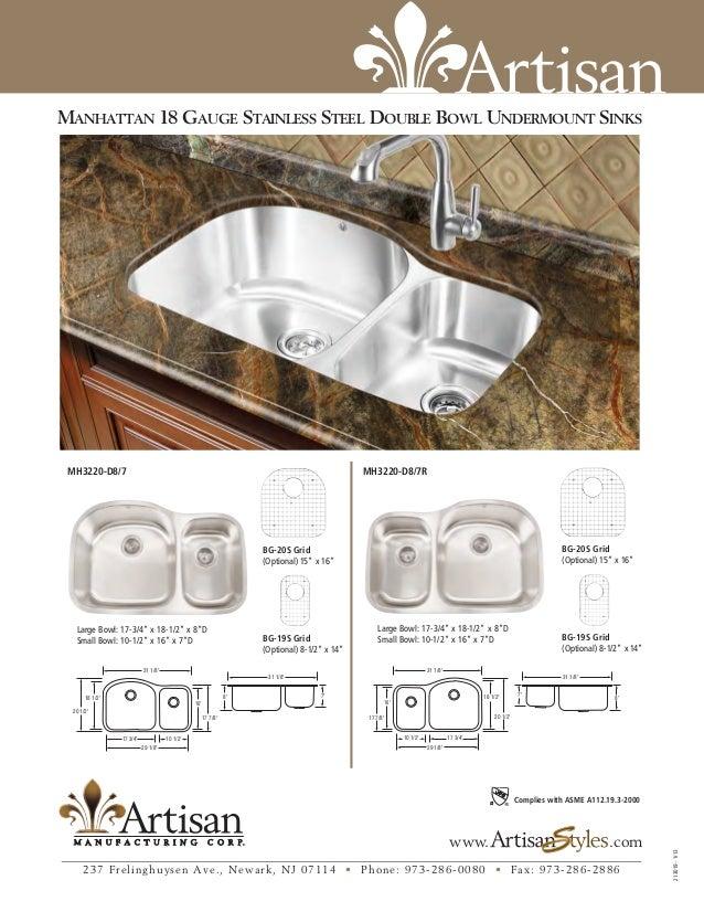 Artisan AR3220-D9//7R-B Kitchen Sink Bowl