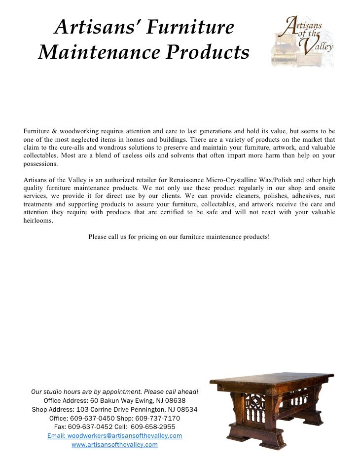 Artisans' Furniture      Maintenance Products   Furniture & woodworking requires attention and care to last generations an...