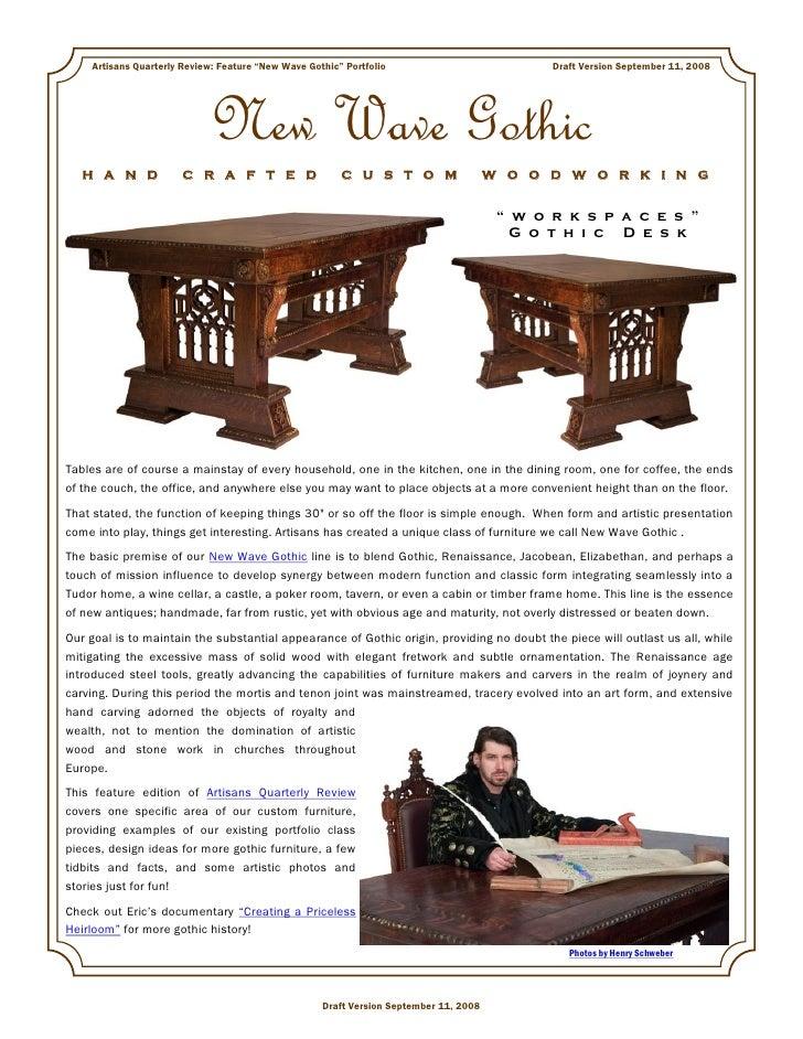 "Artisans Quarterly Review: Feature ""New Wave Gothic"" Portfolio                            Draft Version September 11, 2008..."
