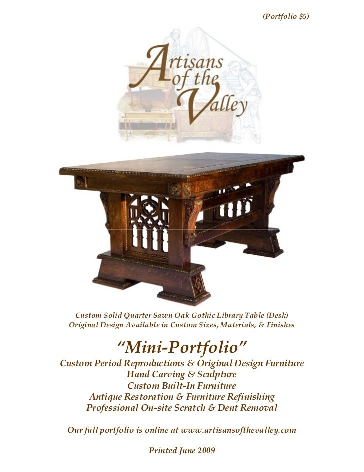 (Portfolio $5)  Custom Solid Quarter Sawn Oak Gothic Library Table (Desk) Original Design Available in Custom Sizes, Mater...