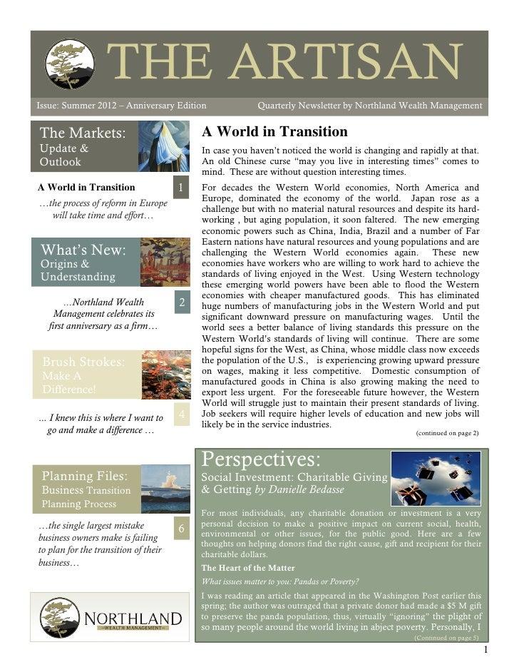 THE ARTISANIssue: Summer 2012                                                                                         The ...