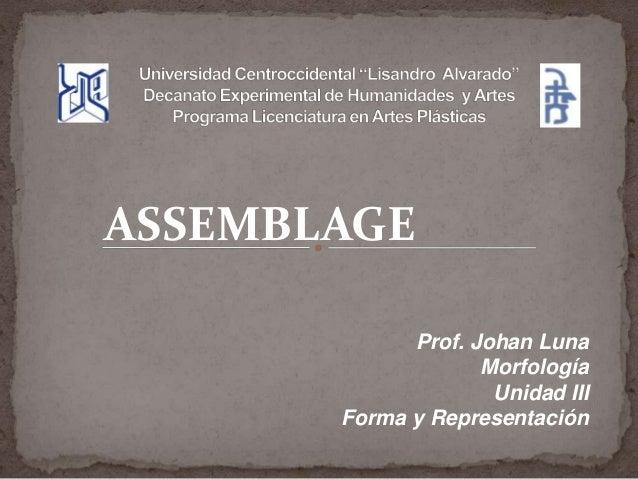ASSEMBLAGE Prof. Johan Luna Morfología Unidad III Forma y Representación