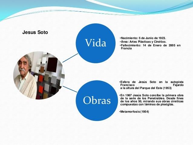 Jesus Soto                     •Nacimiento: 5 de Junio de 1923.             Vida    •Área: Artes Plásticas y Cinético.    ...