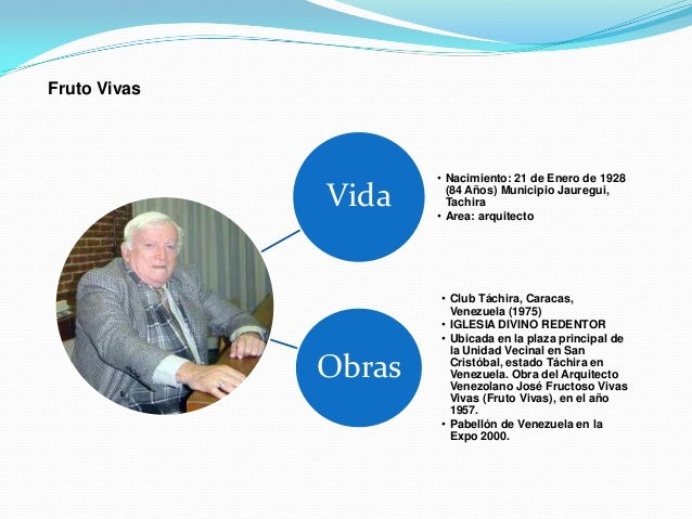 Fruto Vivas                      • Nacimiento: 21 de Enero de 1928              Vida      (84 Años) Municipio Jauregui,   ...
