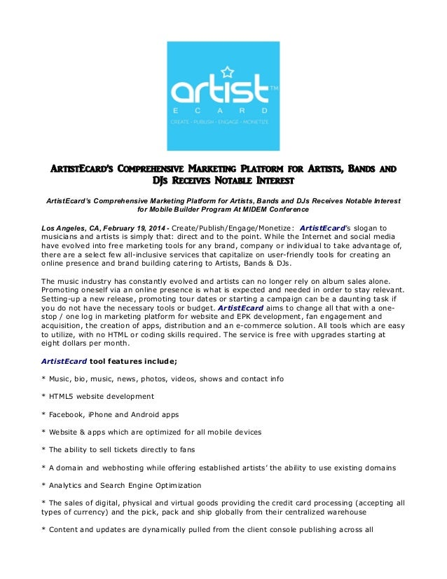 ArtistEcard's Comprehensive Marketing Platform for Artists, Bands and DJs Receives Notable Interest ArtistEcard's Comprehe...