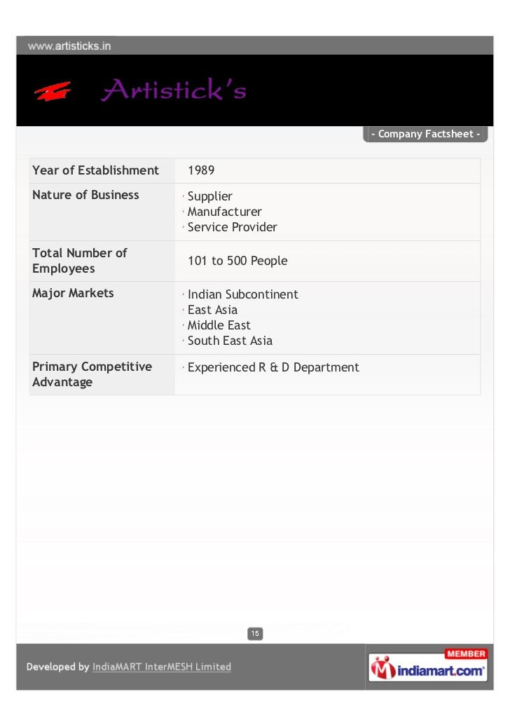 - Company Factsheet -Year of Establishment   1989Nature of Business      Supplier                        Manufacturer     ...