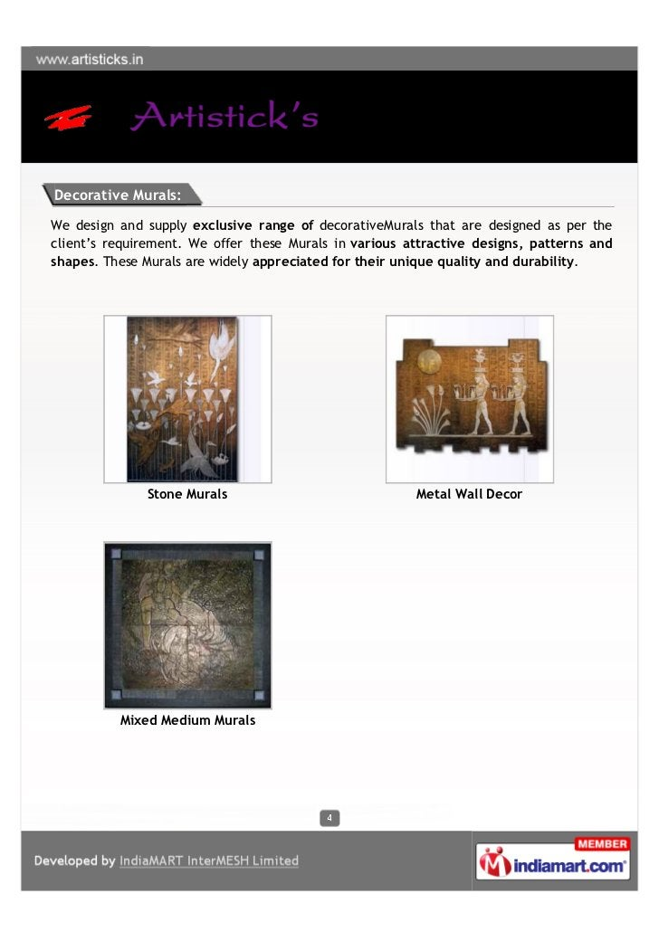 Decorative Murals:We design and supply exclusive range of decorativeMurals that are designed as per theclient's requiremen...
