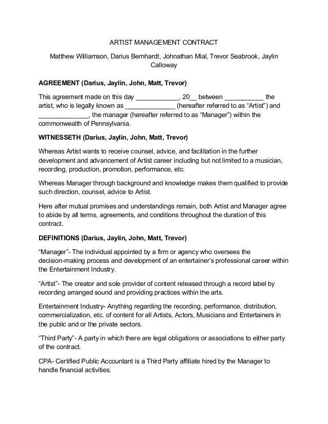 Artist Manager Contract Grude Interpretomics Co