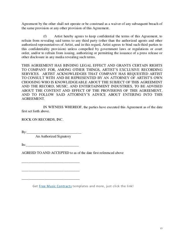 Artist Owned Record Company Letter Of Intent Contract