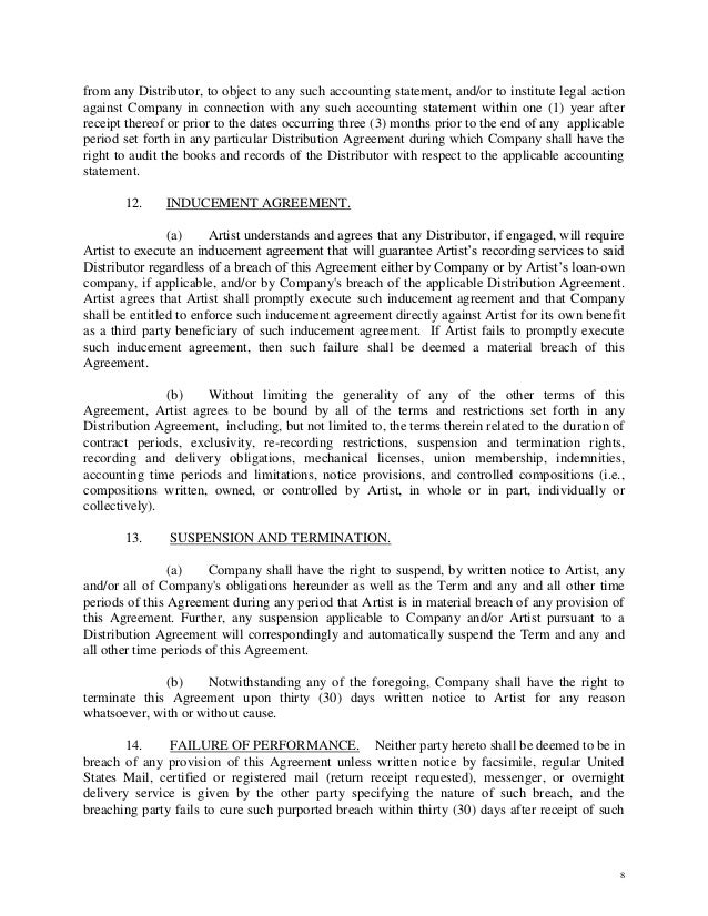 Artist owned record company letter of intent contract – Letter of Intent Contract