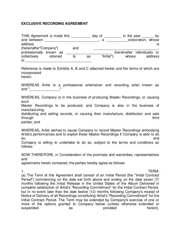 Artist recording contract 3 for Music production contract template