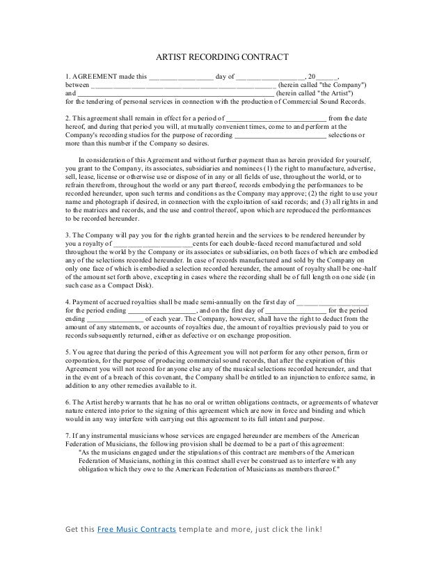 Music Agreement Contract. Sample Music Video Agreement Contract