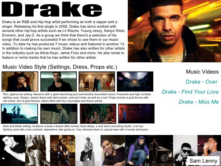 Drake is an R&B and Hip-Hop artist performing as both a rapper and asinger. Releasing his first single in 2006, Drake has ...