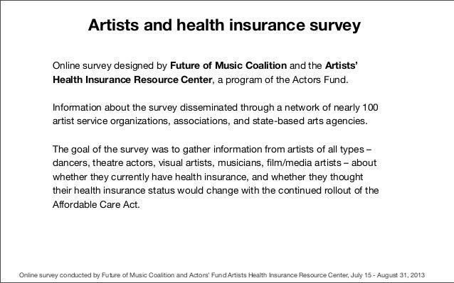 Artistsandhealthinsuranceresults100113 Slide 2