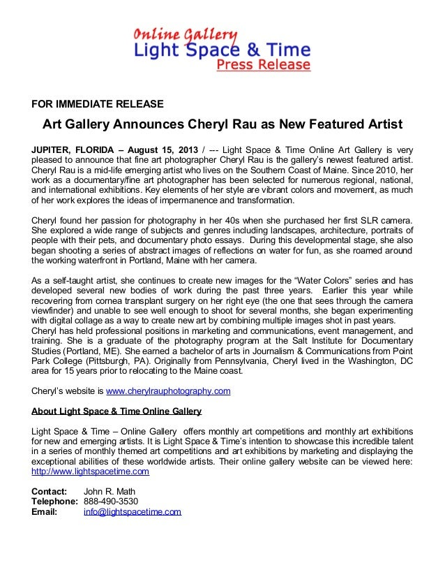 FOR IMMEDIATE RELEASE Art Gallery Announces Cheryl Rau as New Featured Artist JUPITER, FLORIDA – August 15, 2013 / --- Lig...