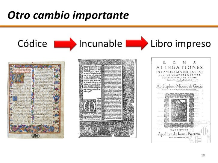 Otro cambio importante   Códice     Incunable    Libro impreso                                        10